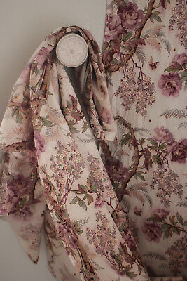Fabric Antique French c1850 hand block printed French floral arborescent textile