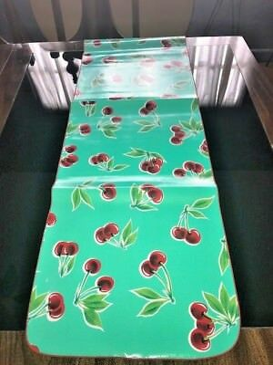 ReTrO Style Aqua CHERRY Cherries OILCLOTH Dining Table RUNNER RV BBQ Pool Party
