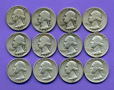 $3 Face = 12 Coins ~ Silver ~ Washington Quarters ~ All Different Dates