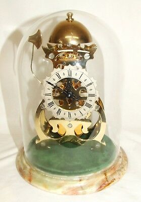 Gold Plated  ATHENASE Skeleton Clock & Glass Dome THWAITES & REED Passing Strike