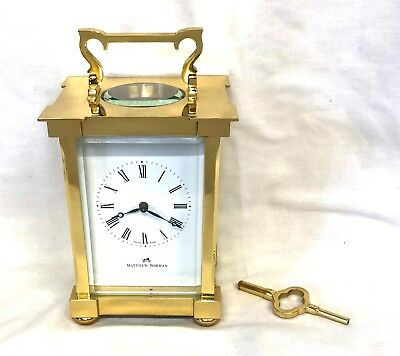MATTHEW NORMAN LONDON SWISS MADE Brass STRIKING Carriage Clock : Working