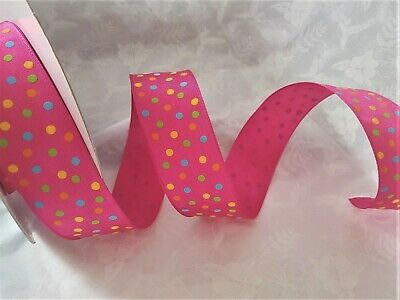 HOT PINK /& MULTI Snowballs dots Christmas Luxury Wire Edged Ribbon LOW STOCK