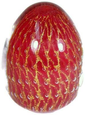 Murano Art Glass Fish Net Red Paperweight w Gold Aventurine & Controlled Bubbles