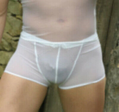 net full transparent White super sexy Boxer Trunks mens brief full see thru XL