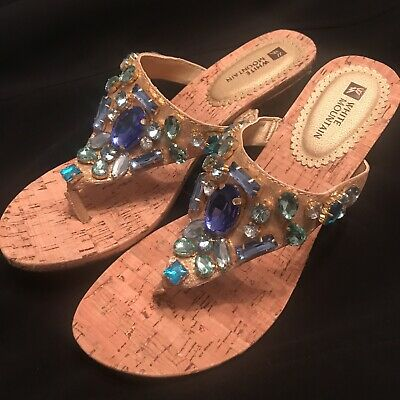 7e067741f29 NEW WHITE MOUNTAIN ABLAZE JEWELED LEATHER WEDGE HEEL THONG SANDALS Size 8.5