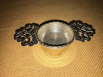 Vintage Silver Plated Tea Strainer & Cup With A Pretty Lattice Work Pattern