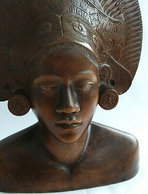 Fine Bust - Bali Woman / Princess Wood Carving - Klungkung