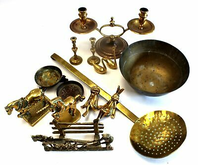 Large Collection of VINTAGE BRASS Candlesticks, Ornaments & Trinkets  - H18