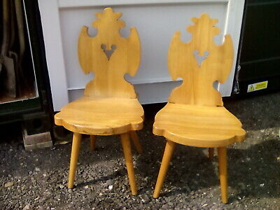Pair VINTAGE cepelia COUNTRY / FOLK ART gothic style  chairs lovely condition...