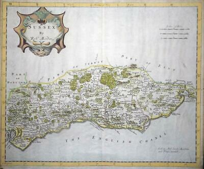 1695 - Antique 1st Issue Map of SUSSEX by Robert Morden hand coloured (LM4)