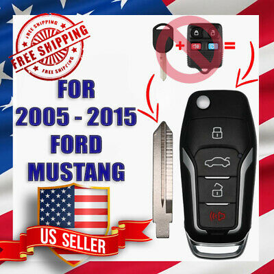 Upgraded Flip Remote Key for 2005 - 2015 Ford Mustang 4D63 80 BIT Chip