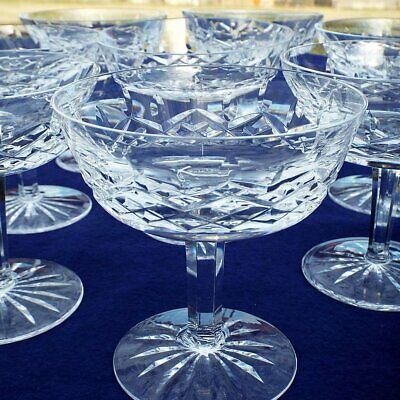 """Lot of (8) Waterford Crystal LISMORE 4 1/8"""" Tall Sherbet or Champagne Stems"""