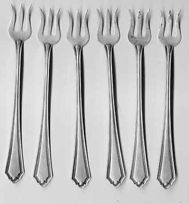 "6 Alvin Sterling Silver ""Hamilton"" Cocktail Forks, No Monogram, 1910 Patent"