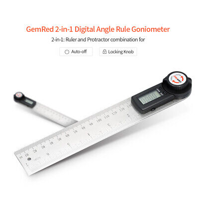 GemRed 2-in-1 Angle Gauge Finder Clinometer Goniometer Digital Ruler 200mm F5X2