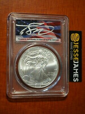 2009 $1 American Silver Eagle Pcgs Ms70 Flag Cleveland First Strike Pop 20