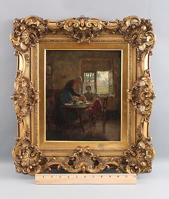 Antique ADDISON T MILLAR American Interior Genre Oil Painting Grandmother & Kids