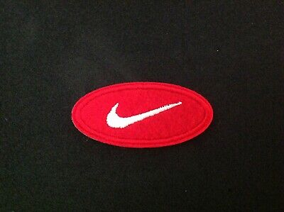 "2"" NIKE RED CLASSIC OVAL SWOOSH LOGO Embroidered Iron On/Sew On Patch USA SELLER"