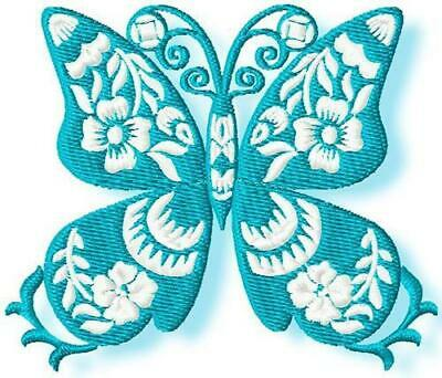 FLORAL BUTTERFLIES 10 MACHINE EMBROIDERY DESIGNS CD or USB