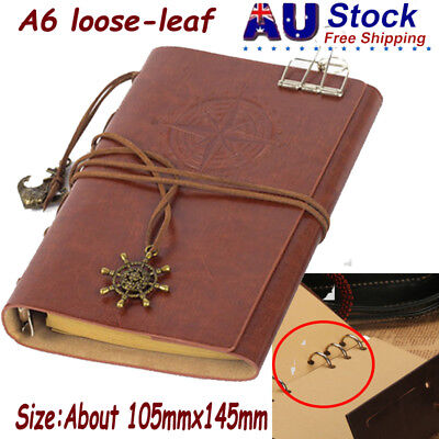 Notebook PU Leather Cover Diary Travel Journal Note w/ Leaf Pendant Book Brown
