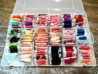 BULK LOT of  EMBROIDERY COTTON on CARDS in STORAGE BOX ( LOT #1) UNUSED