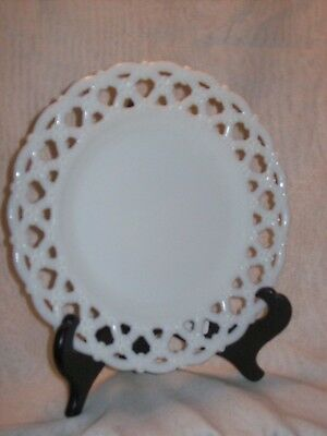 Pair of Vintage Milk Glass Cut Rim Hearts and Violets Plates