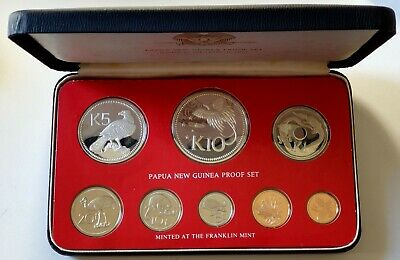 1976 Papua New Guinea PNG Proof Set Including 2 Silver Coins - GEM FDC