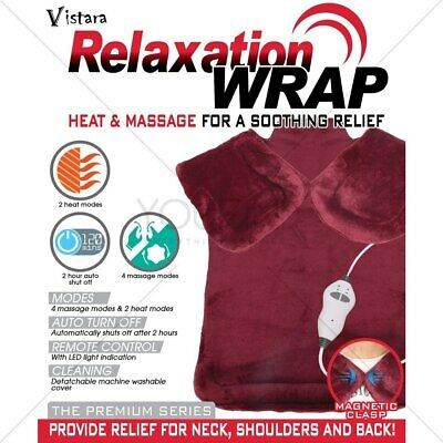 Relief Heat Massage Wrap Back Therapy Neck Shoulder Muscle Pain Pad Vibration