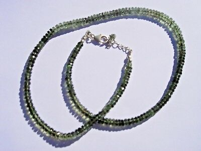 68.6 carats of checkered cut beads 4.5 x 2mm MOLDAVITE necklace 18 inches