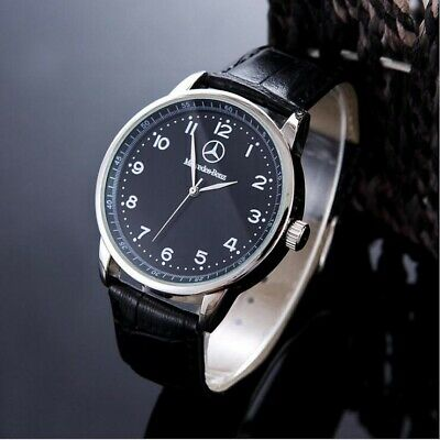 Mercedes Benz Mens Watch Stainless Steel Black Leather Strap Black Face