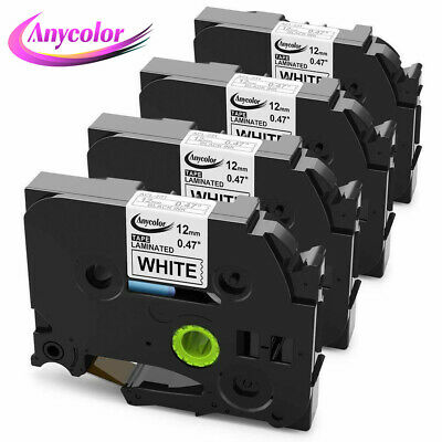 4PK Compatible For Brother P-Touch TZe-231 TZ231 TZe231 Black on White (12mm/8m)