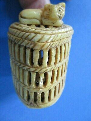 CHINESE HAND CARVED / ETCHED Bovine BONE ,  LIDDED CRICKET CAGE