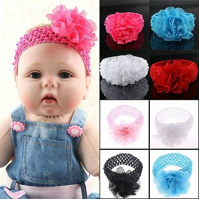 Fashion Flower Elastic Crochet Hairband Stretchy Headband Baby Toddler Headwrap