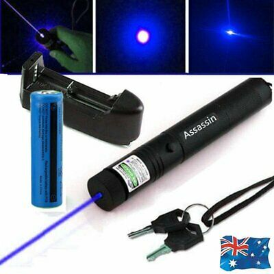 Military Blue Purple 405nm Laser Pointer Pen Visible Beam+18650 Battery AU 2019