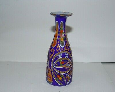 Antique Persian middle east Islamic colorful decorated glass vase