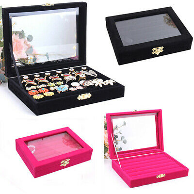 Glasses Ring Velvet Jewellery Display Box Cufflinks Storage Tray Case Holder