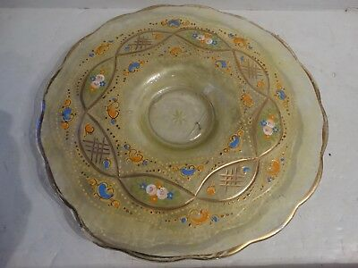 Antique Bohemian style middle eastern enameled plate persian islamic