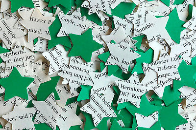 Vintage Tea Party Table Confetti-Harry Potter/Green Paper Rustic Star-Slytherin