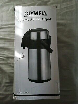 New Olympia Pump Action Airpot 3Ltr 370X151mm Stainless Steel Teapot Infuser