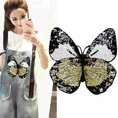 Large DIY Butterfly Sequined Sew Iron on Patches for Clothing Animal Appliques