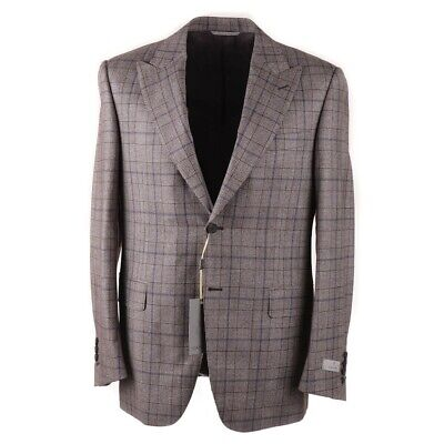 CANALI Classic-Fit Light Brown Check Wool Suit with Peak Lapels 40 R NWT $2395