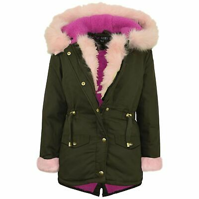 Kids Girls Baby Pink Faux Fur Hooded Parka School Jackets Outwear Coat 5-13 Year