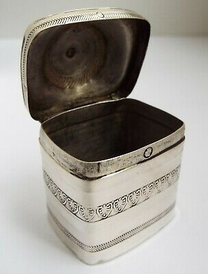 Beautiful Early Decorative Dutch Antique 1841 Solid Silver Peppermint Snuff Box