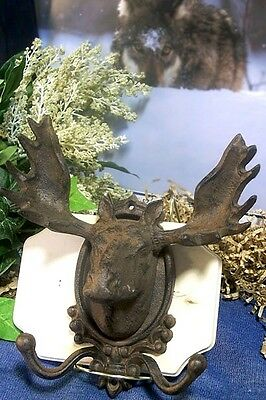 Moose Head Wall Mounted Hook Hanger Rack  Cast Iron  Rustic Cabin Lodge Decor