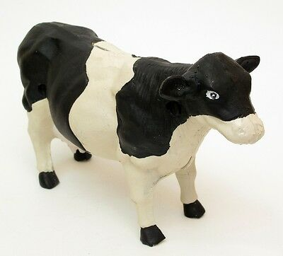 Large Heavy Cast Iron -Holstein Cow Figure Bank Painted Country Decor