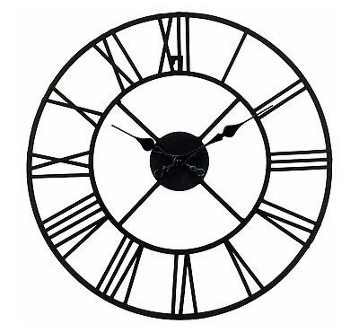 Vintage Round Iron Wall Hanging Clock Antique Metal Cut Out Roman Numerals Clock