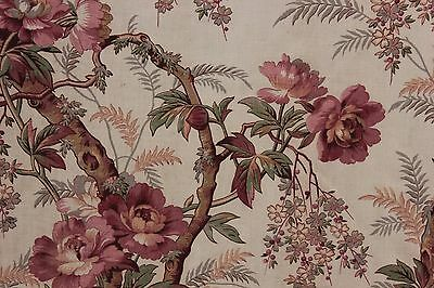 Antique Fabric French Floral circa 1850 hand block printed arborescent pattern