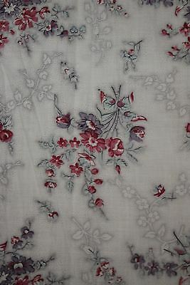 Chintz Fabric Antique French block printed glazed c1820 w/ faded floral pattern