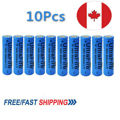 10X Ultrafire 6000mAh 18650 Battery 3.7V Lithium Rechargeable For Headlamp Cell