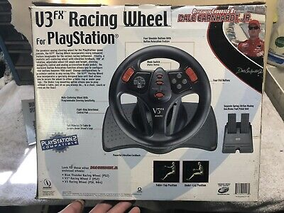 V3FX RACING WHEEL for PSX and PS2 PLAYSTATION 2 W/ BOX STEERING WHEEL FOOT PEDAL