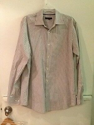 MENS LARGE BANANA REPUBLIC Blue/Cream/Gray Striped BUTTON UP SHIRT